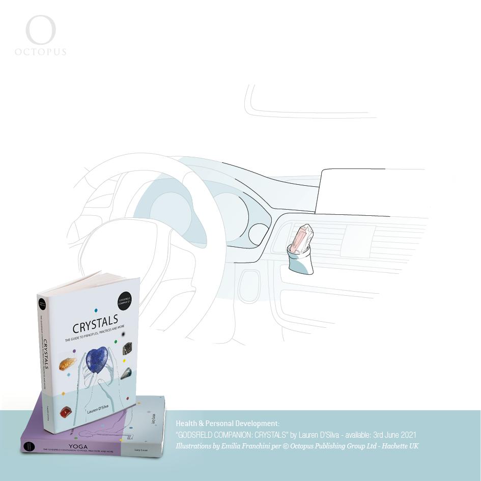 """illustrazioni di emilia franchini tratte dal libro """"GODSFIELD COMPANION: Crystals"""" per ©Octopus, Hachette drive with crystals"""