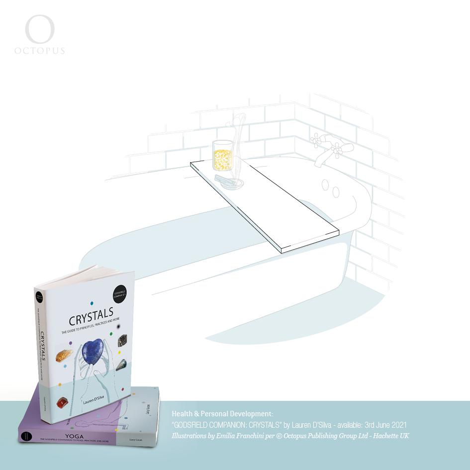 """illustrazioni di emilia franchini tratte dal libro """"GODSFIELD COMPANION: Crystals"""" per ©Octopus, Hachette crystals in bath room"""