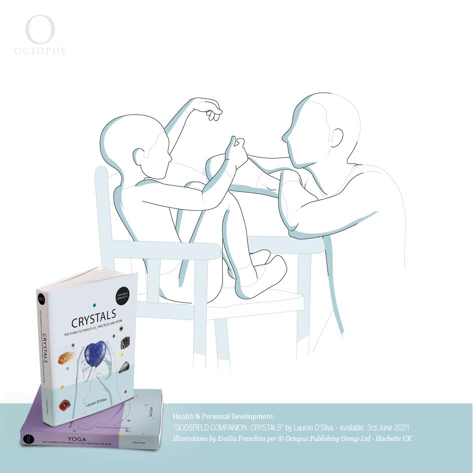 """illustrazioni di emilia franchini tratte dal libro """"GODSFIELD COMPANION: Crystals"""" per ©Octopus, Hachette children play with crystals"""