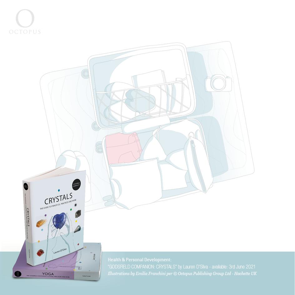 """illustrazioni di emilia franchini tratte dal libro """"GODSFIELD COMPANION: Crystals"""" per ©Octopus, Hachette crystals in vacation"""