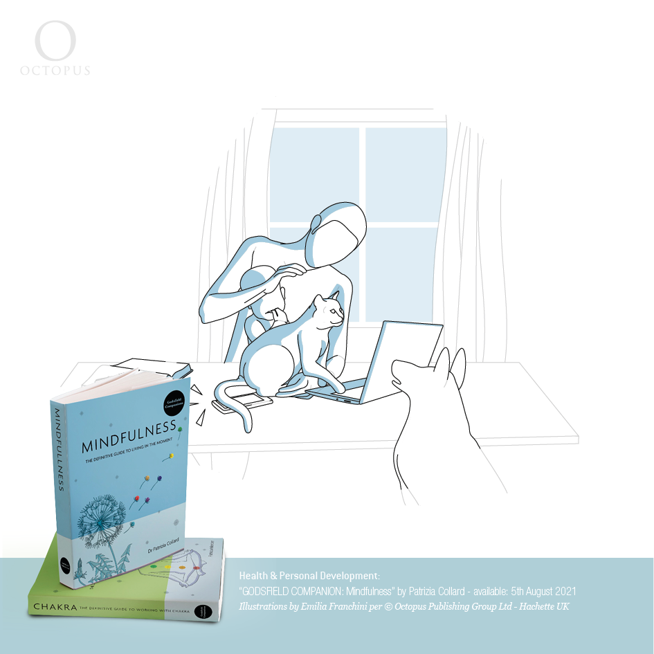 """""""GODSFIELD COMPANION: Mindfulness"""" illustrazioni di emilia franchini per ©Octopus, Hachette With practice, you will find that mindfulness offers an entirely new way to live."""