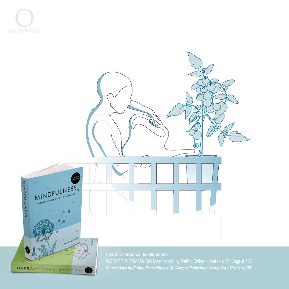 """""""GODSFIELD COMPANION: Mindfulness"""" illustrazioni di emilia franchini per ©Octopus, Hachette produce that is in season"""