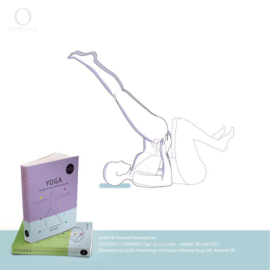 Yoga illustrations emilia franchini half shoulder stand