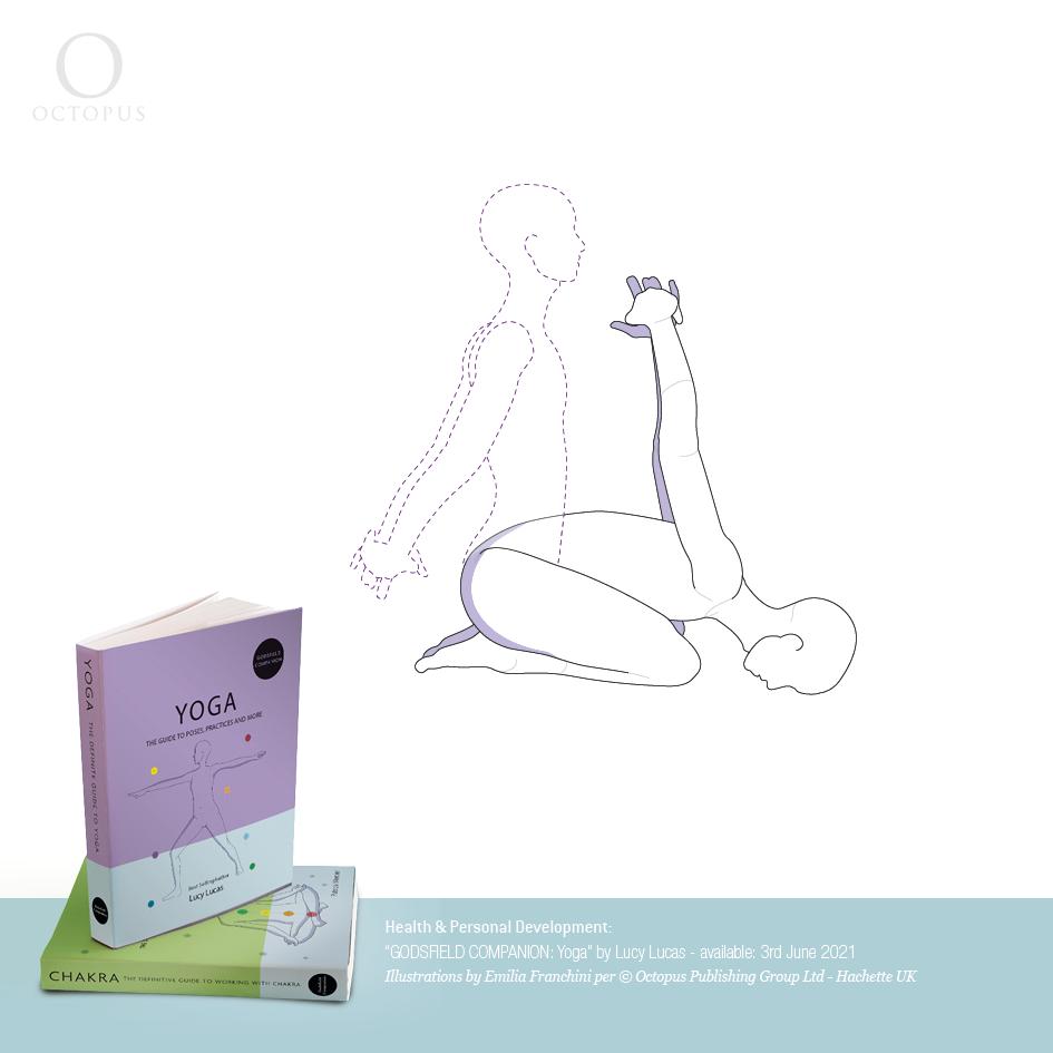 Yoga illustrations emilia franchini  camel pose, anahata